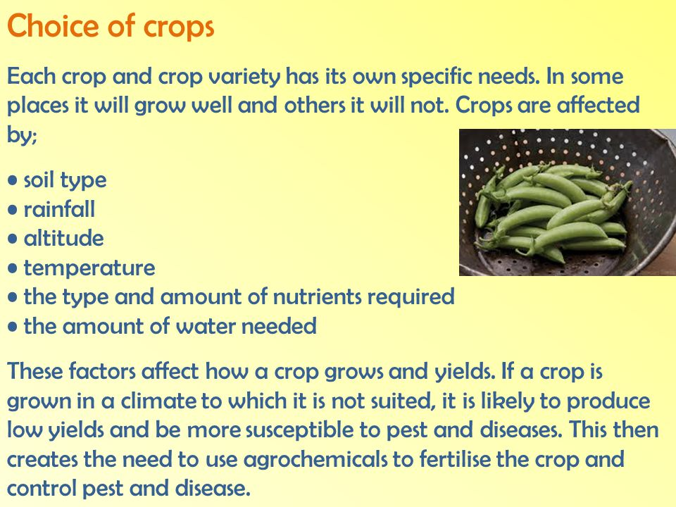 Choice of crops
