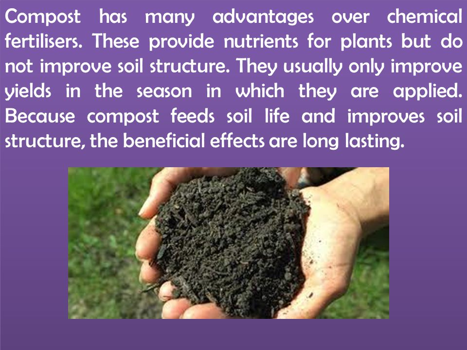 Compost has many advantages over chemical fertilisers