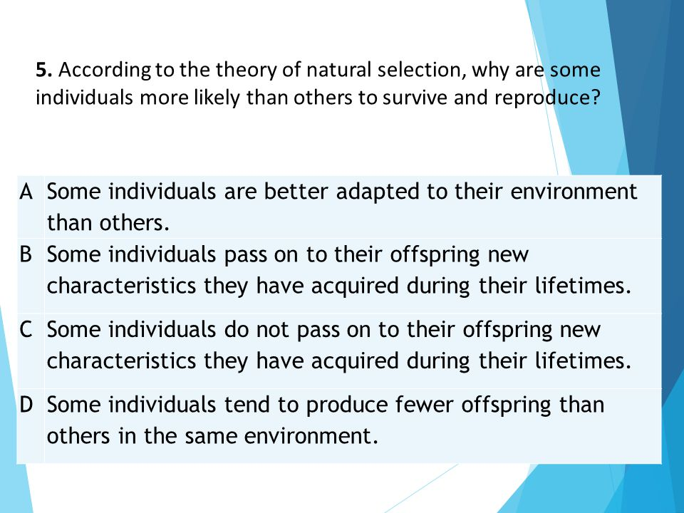 5. According to the theory of natural selection, why are some individuals more likely than others to survive and reproduce