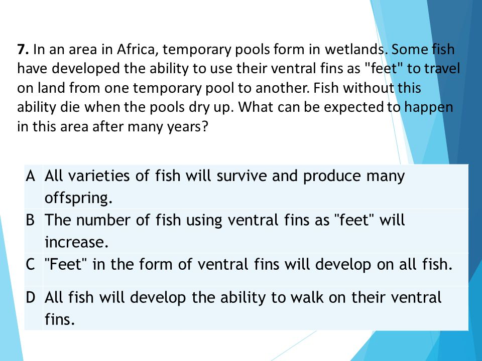 7. In an area in Africa, temporary pools form in wetlands