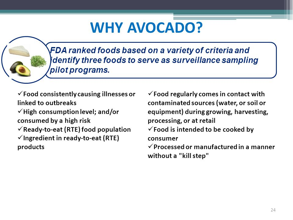 WHY AVOCADO FDA ranked foods based on a variety of criteria and identify three foods to serve as surveillance sampling pilot programs.