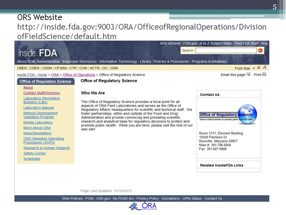 ORS Website http://inside. fda