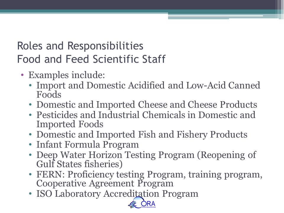 Roles and Responsibilities Food and Feed Scientific Staff