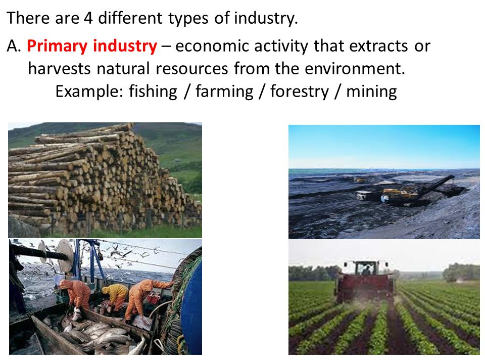 There are 4 different types of industry.