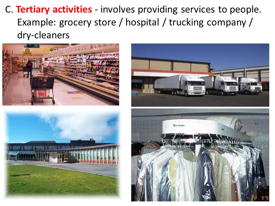 C. Tertiary activities - involves providing services to people.