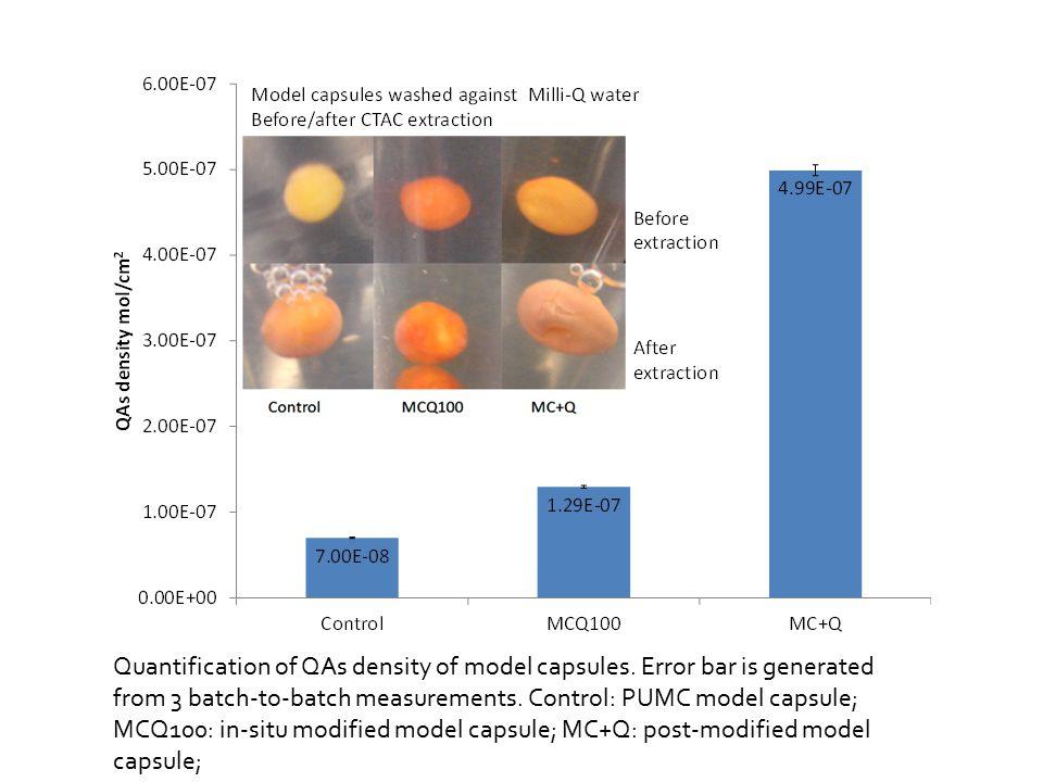 Quantification of QAs density of model capsules