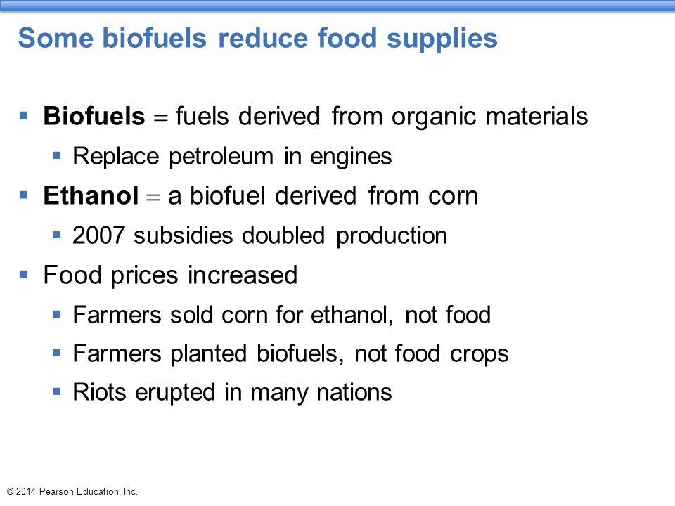 Some biofuels reduce food supplies
