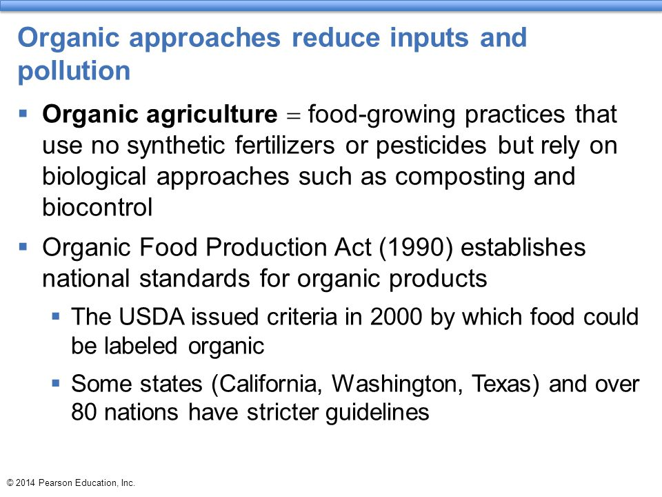 Organic approaches reduce inputs and pollution