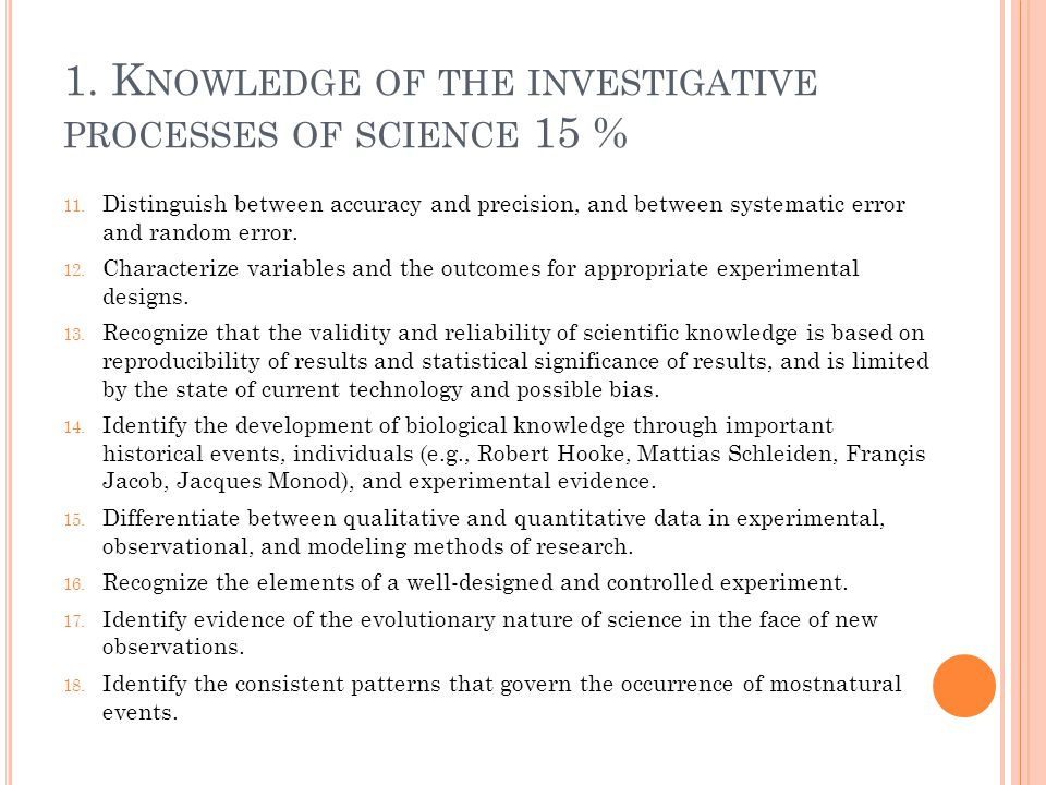 1. Knowledge of the investigative processes of science 15 %