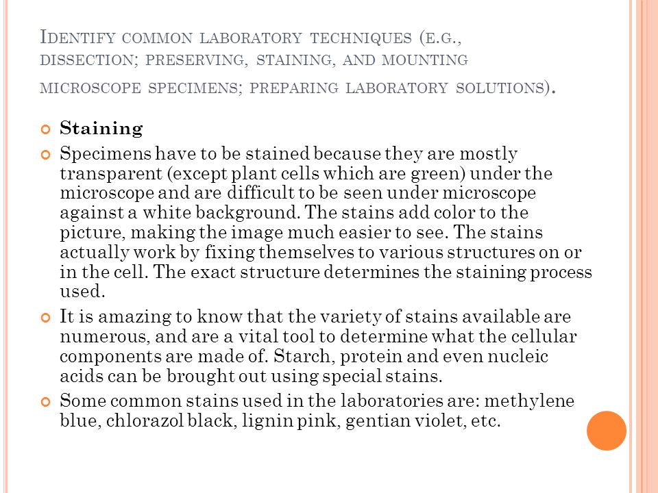 Identify common laboratory techniques (e. g
