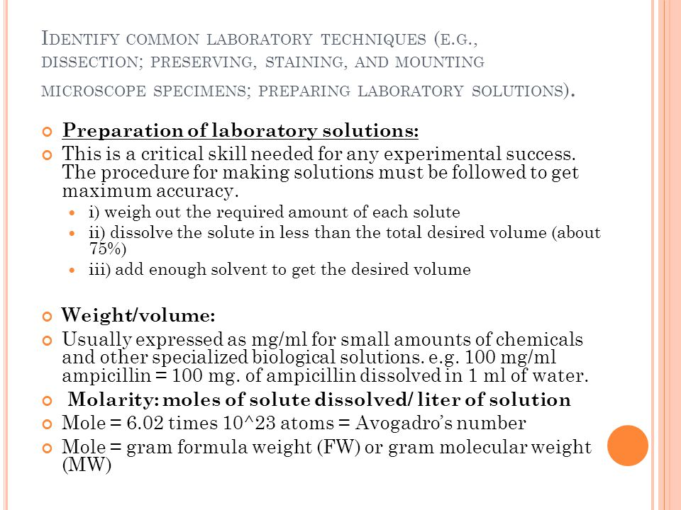 Preparation of laboratory solutions: