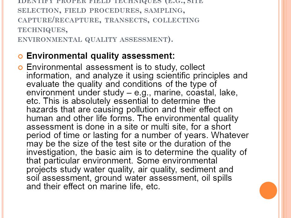Environmental quality assessment: