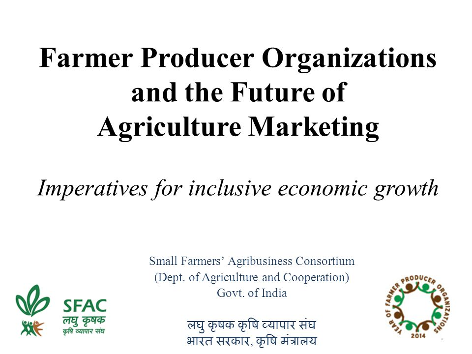 Farmer Producer Organizations and the Future of Agriculture Marketing Imperatives for inclusive economic growth