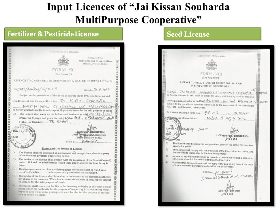 Input Licences of Jai Kissan Souharda MultiPurpose Cooperative