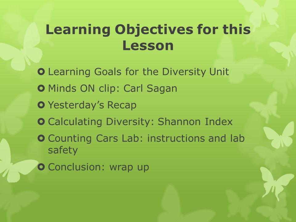 Learning Objectives for this Lesson