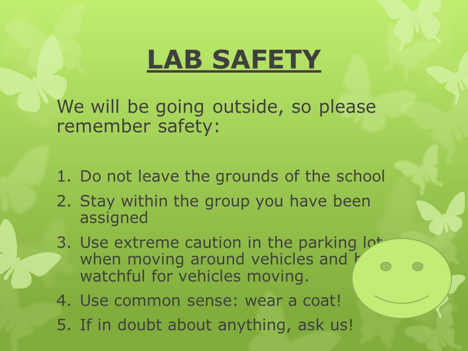 LAB SAFETY We will be going outside, so please remember safety:
