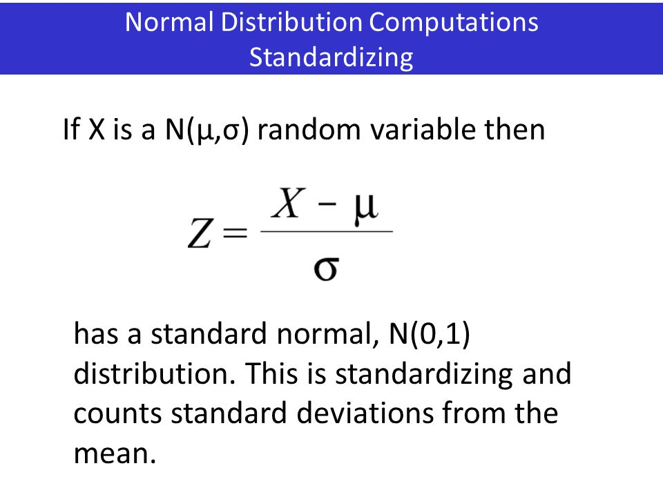 Normal Distribution Computations Standardizing