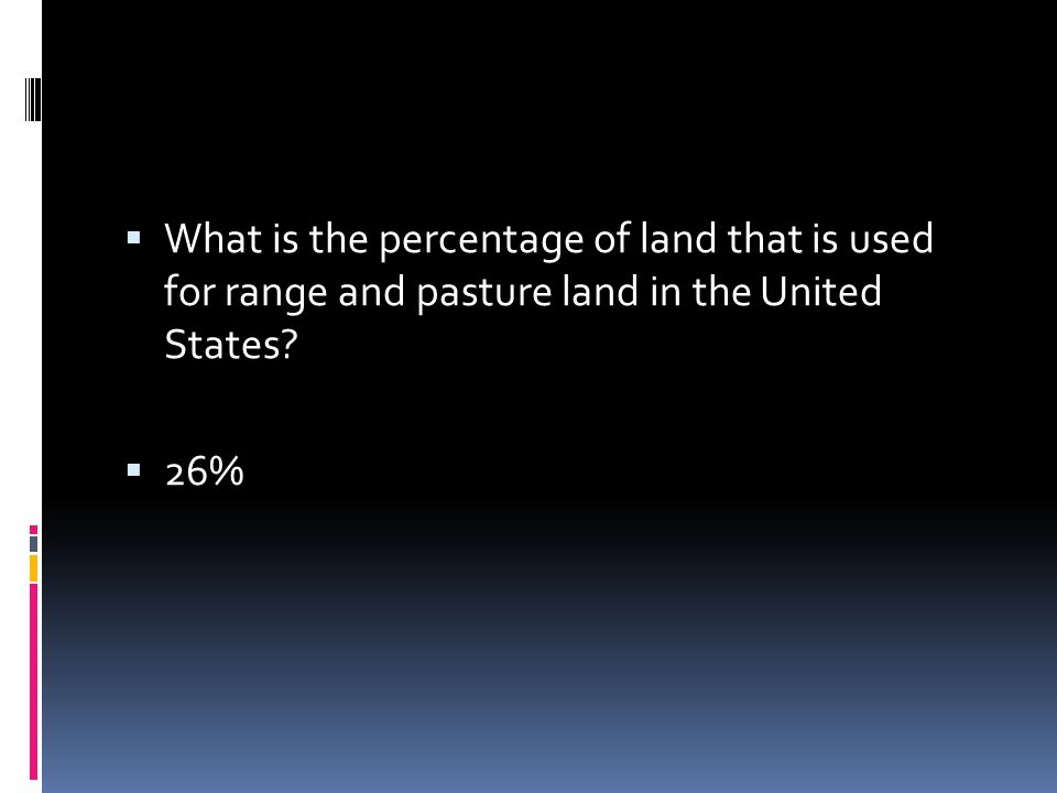 What is the percentage of land that is used for range and pasture land in the United States