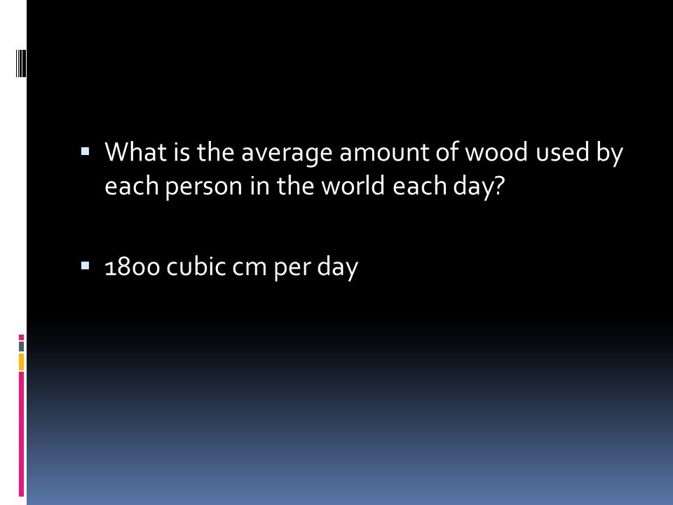 What is the average amount of wood used by each person in the world each day