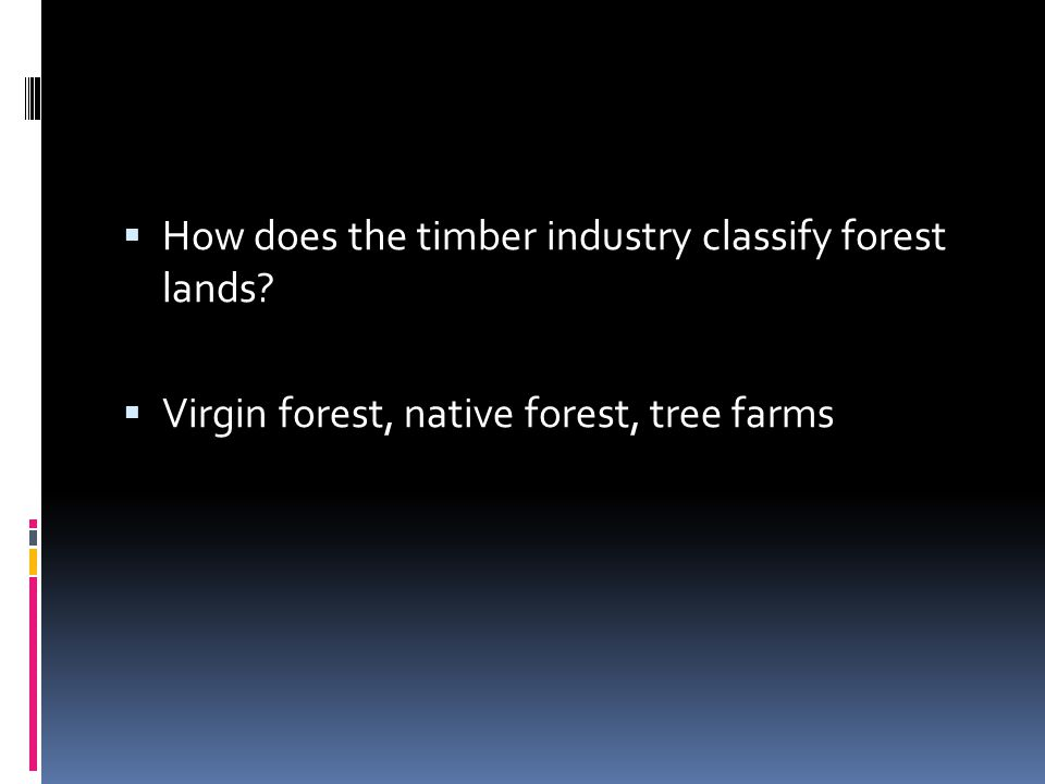 How does the timber industry classify forest lands