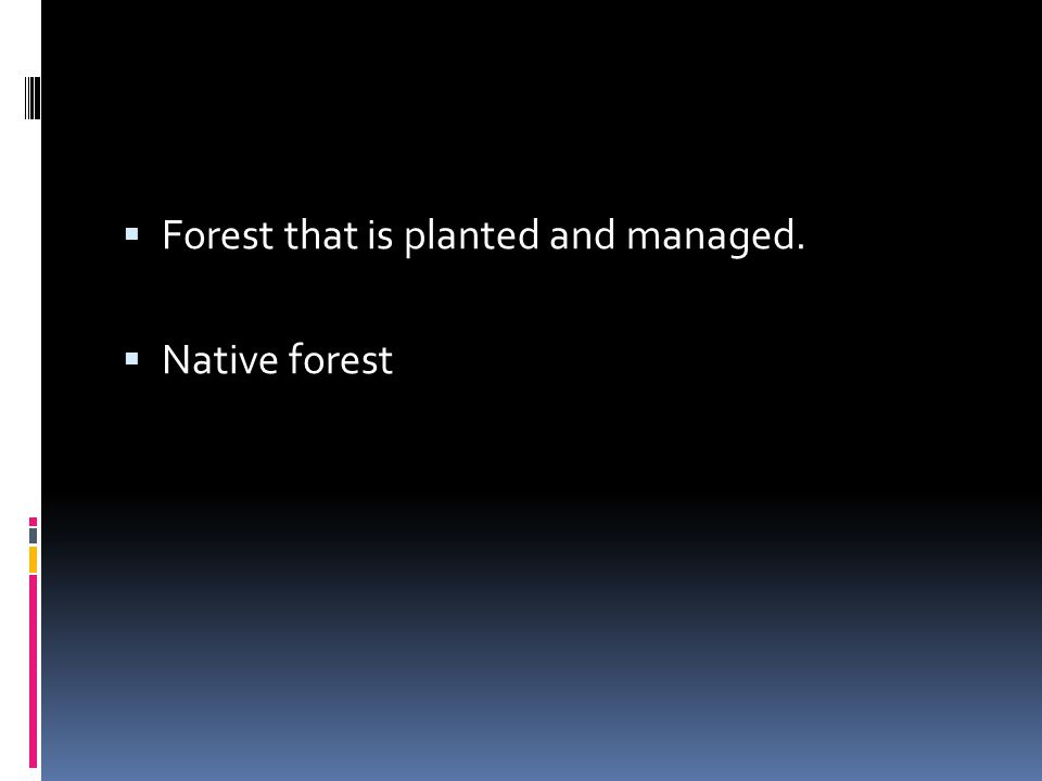 Forest that is planted and managed.
