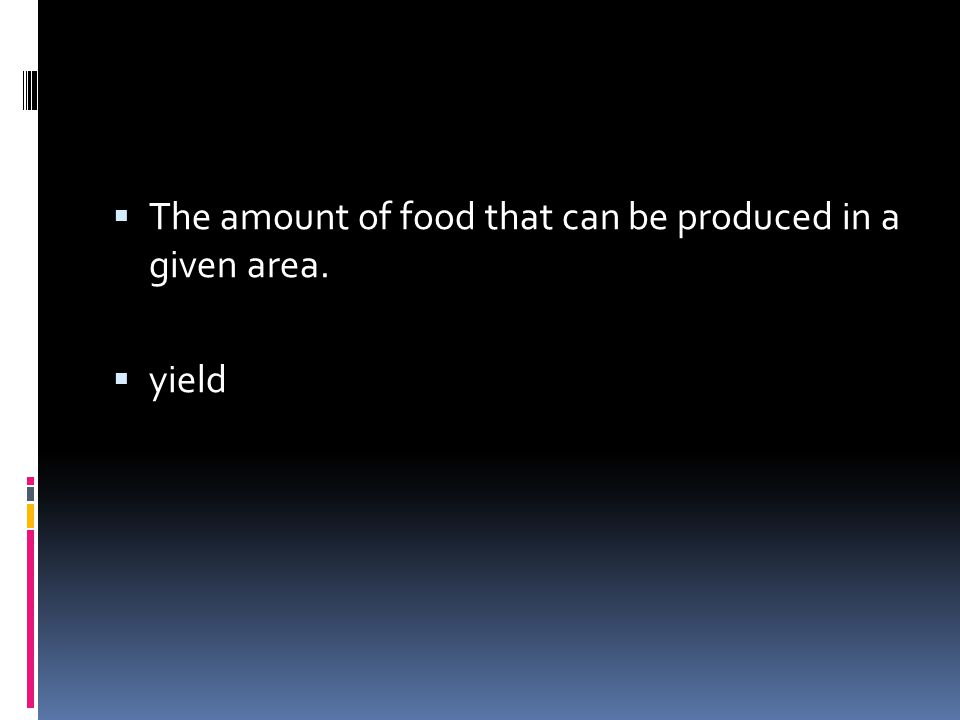 The amount of food that can be produced in a given area.