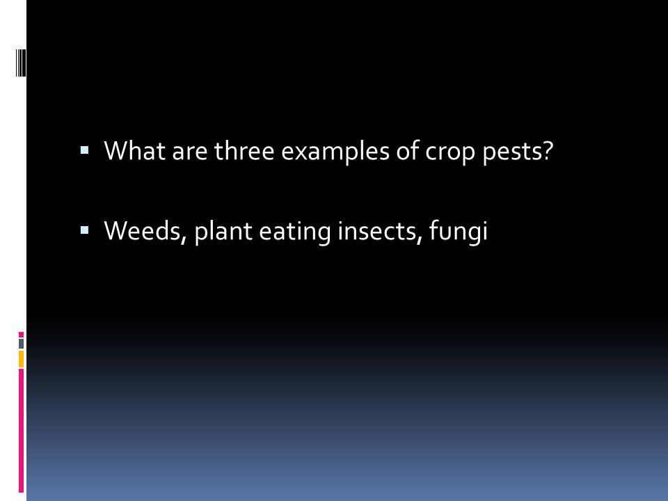 What are three examples of crop pests