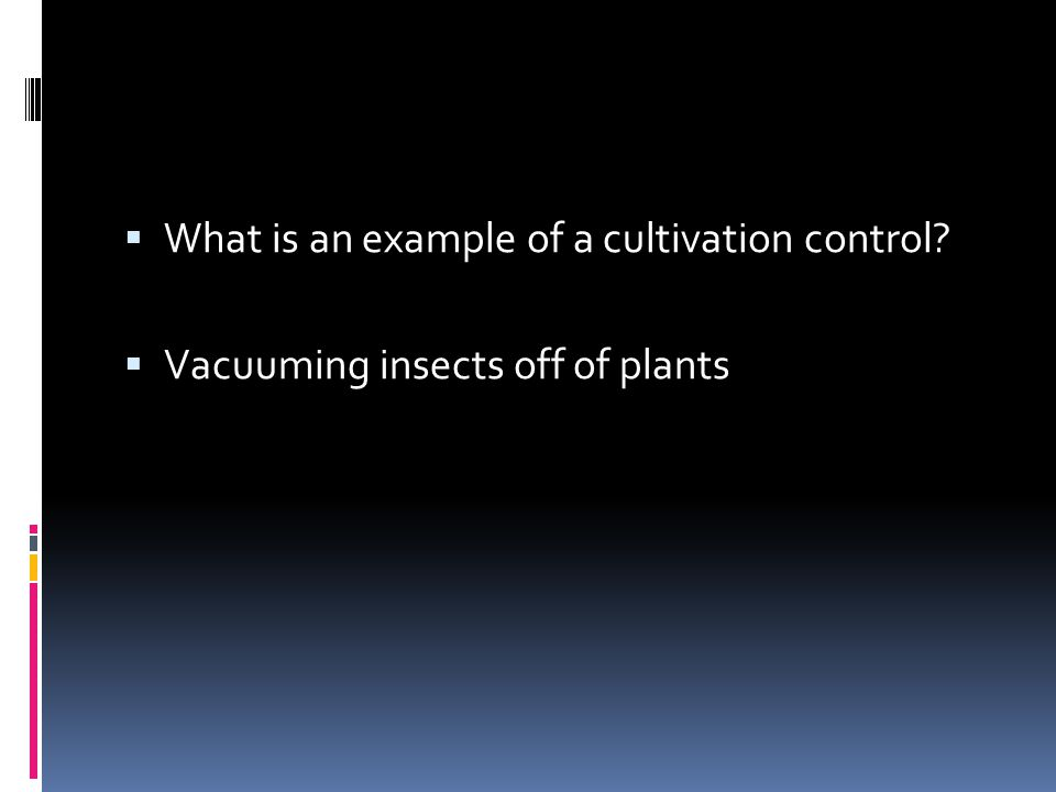 What is an example of a cultivation control