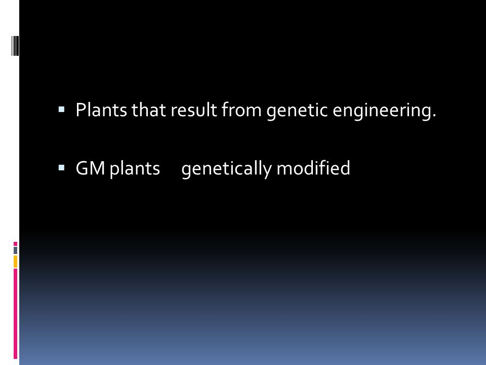 Plants that result from genetic engineering.