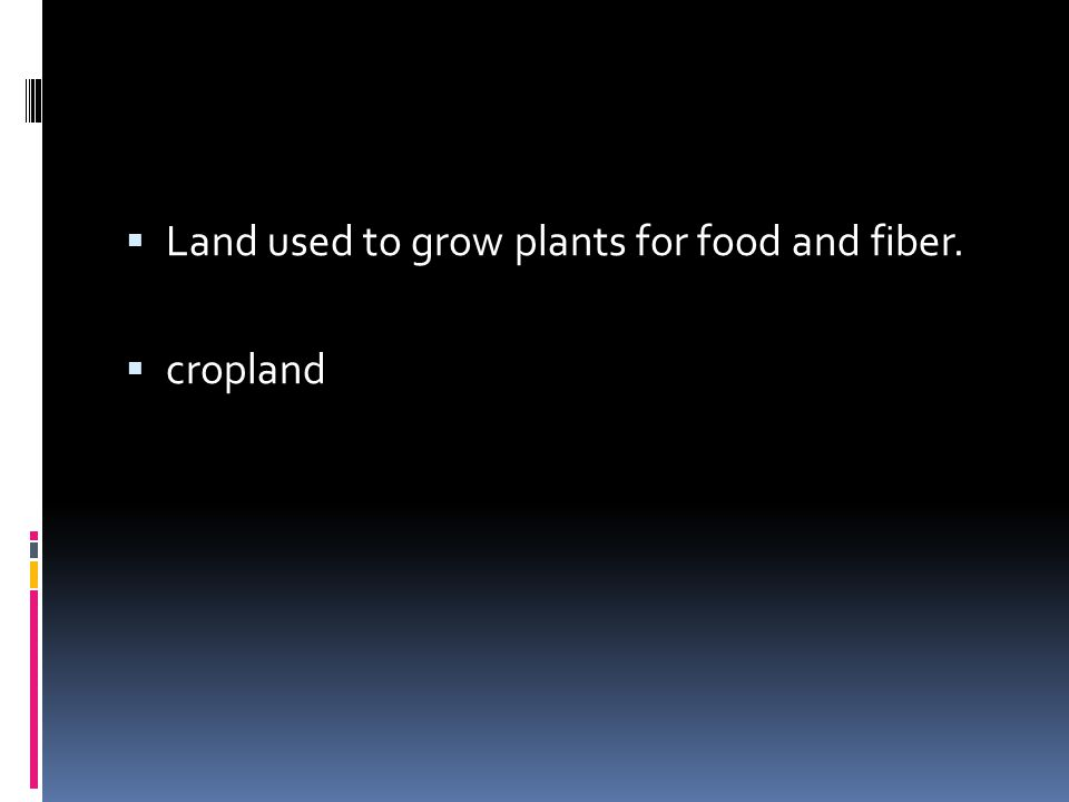 Land used to grow plants for food and fiber.