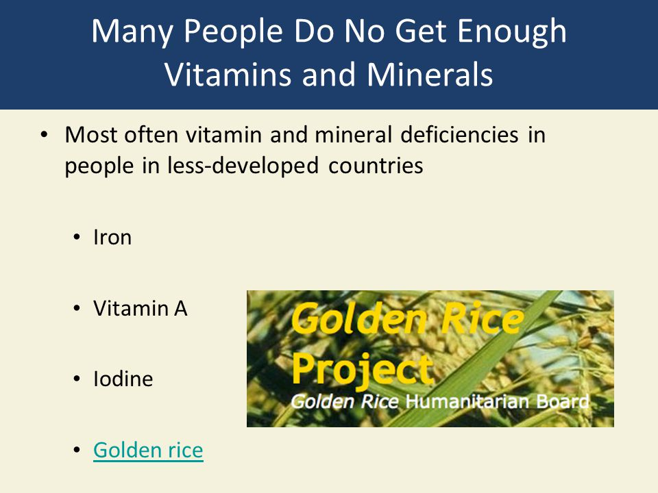 Many People Do No Get Enough Vitamins and Minerals