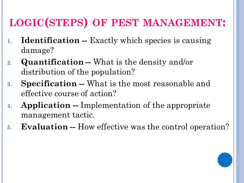 logic(steps) of pest management: