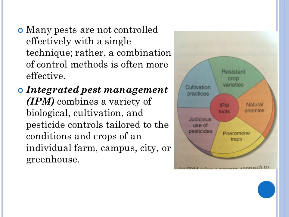 Many pests are not controlled effectively with a single technique; rather, a combination of control methods is often more effective.
