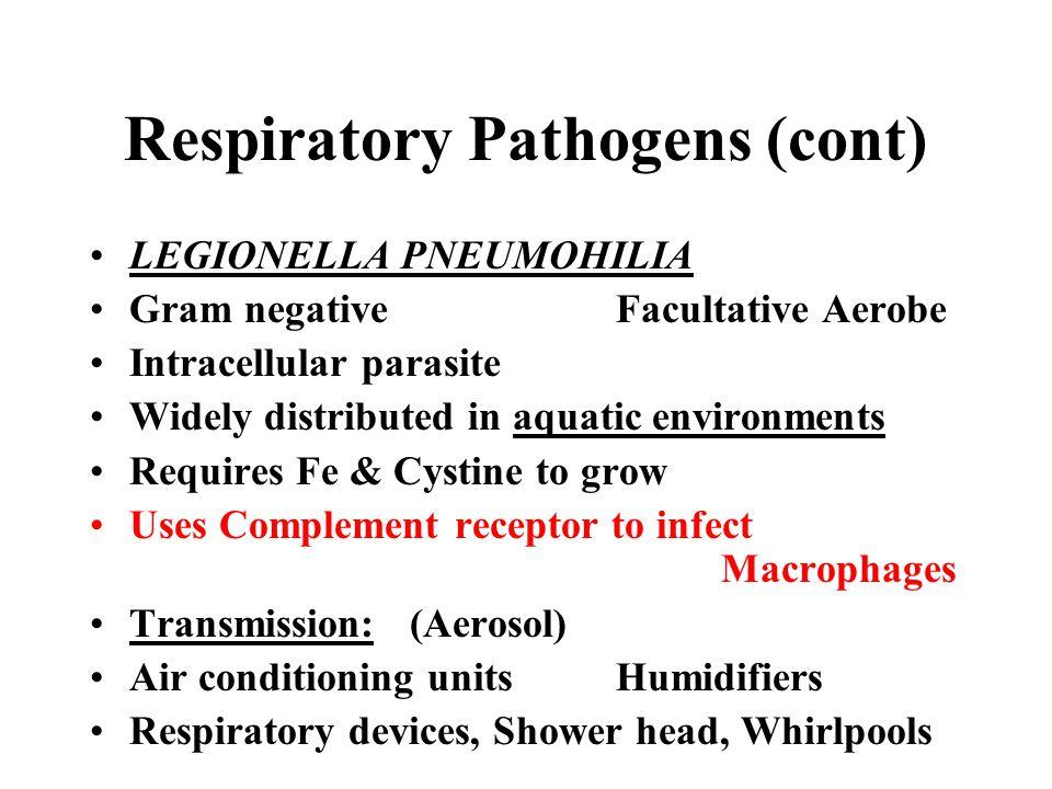 Respiratory Pathogens (cont)