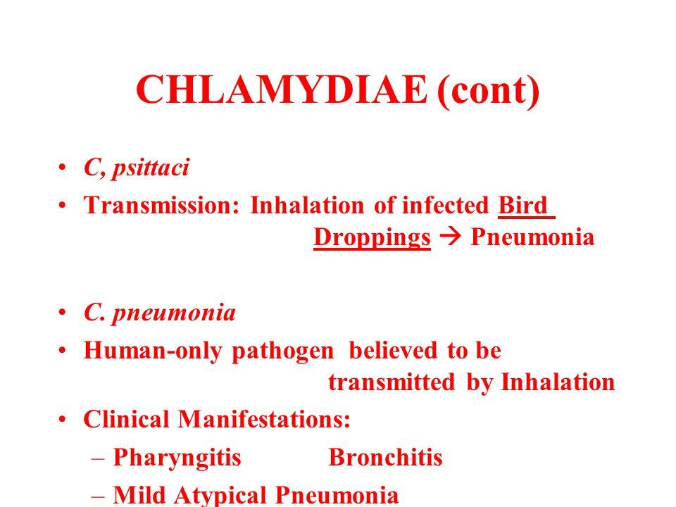 CHLAMYDIAE (cont) C, psittaci