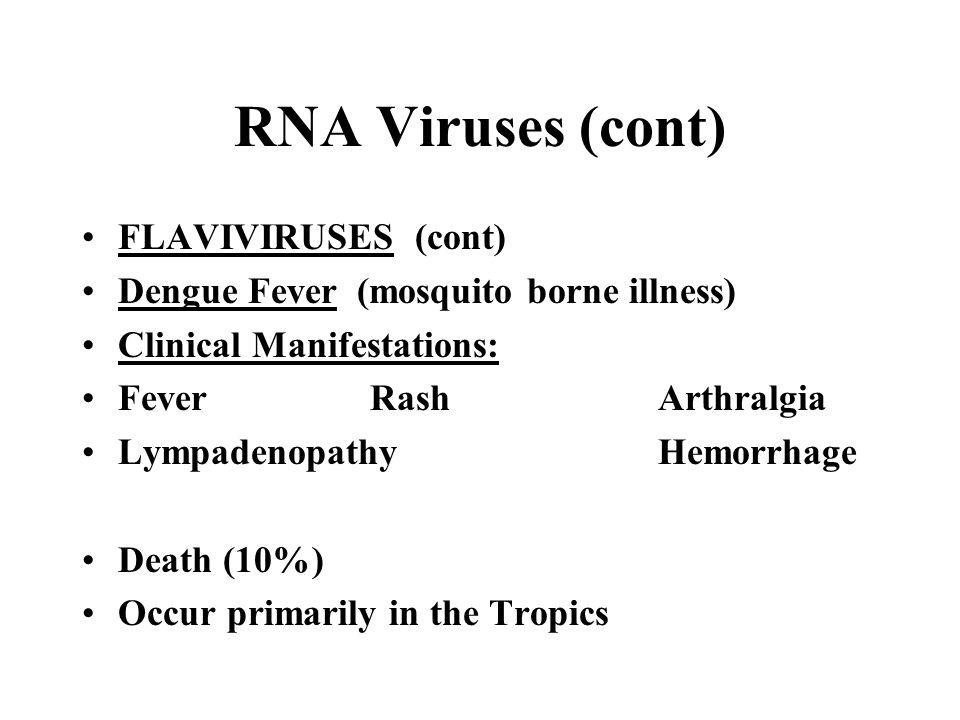 RNA Viruses (cont) FLAVIVIRUSES (cont)