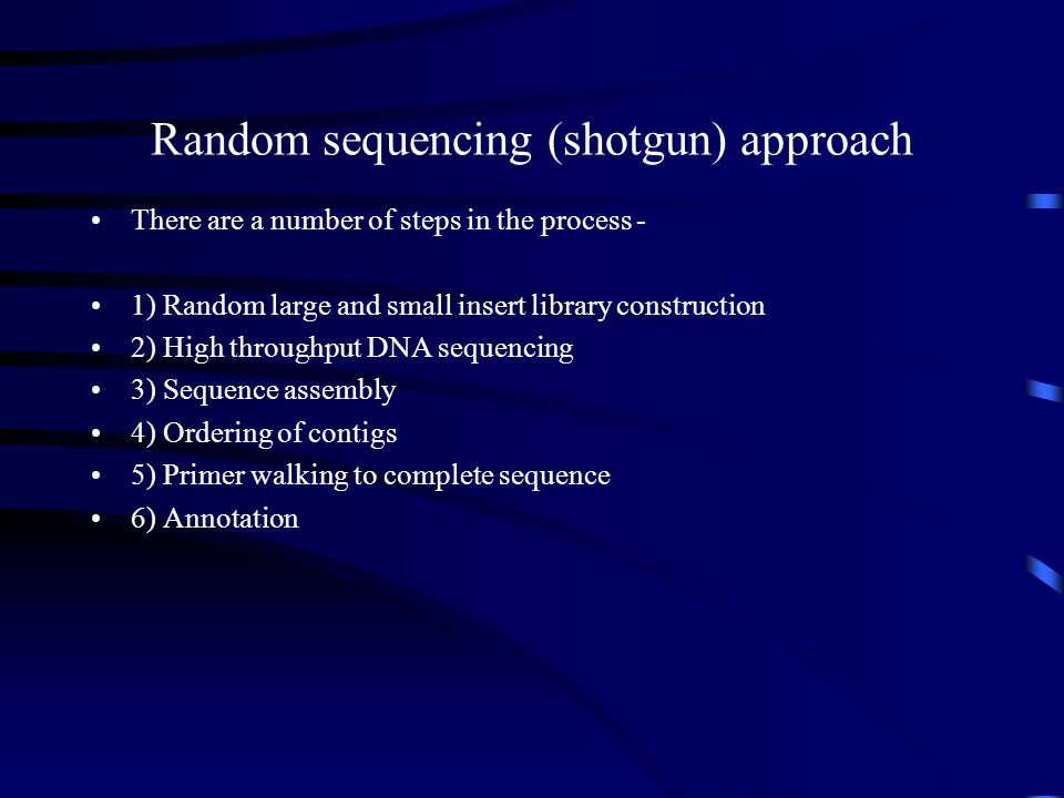 Random sequencing (shotgun) approach