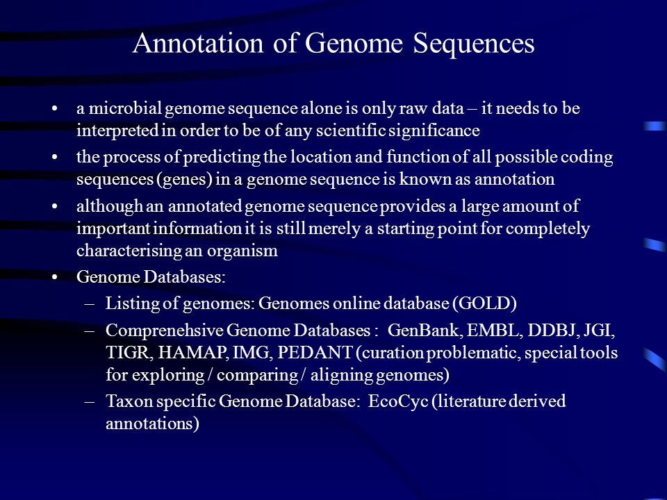 Annotation of Genome Sequences