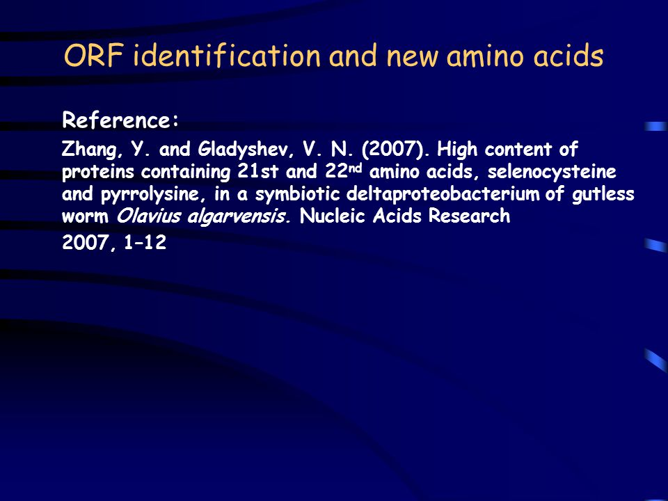 ORF identification and new amino acids