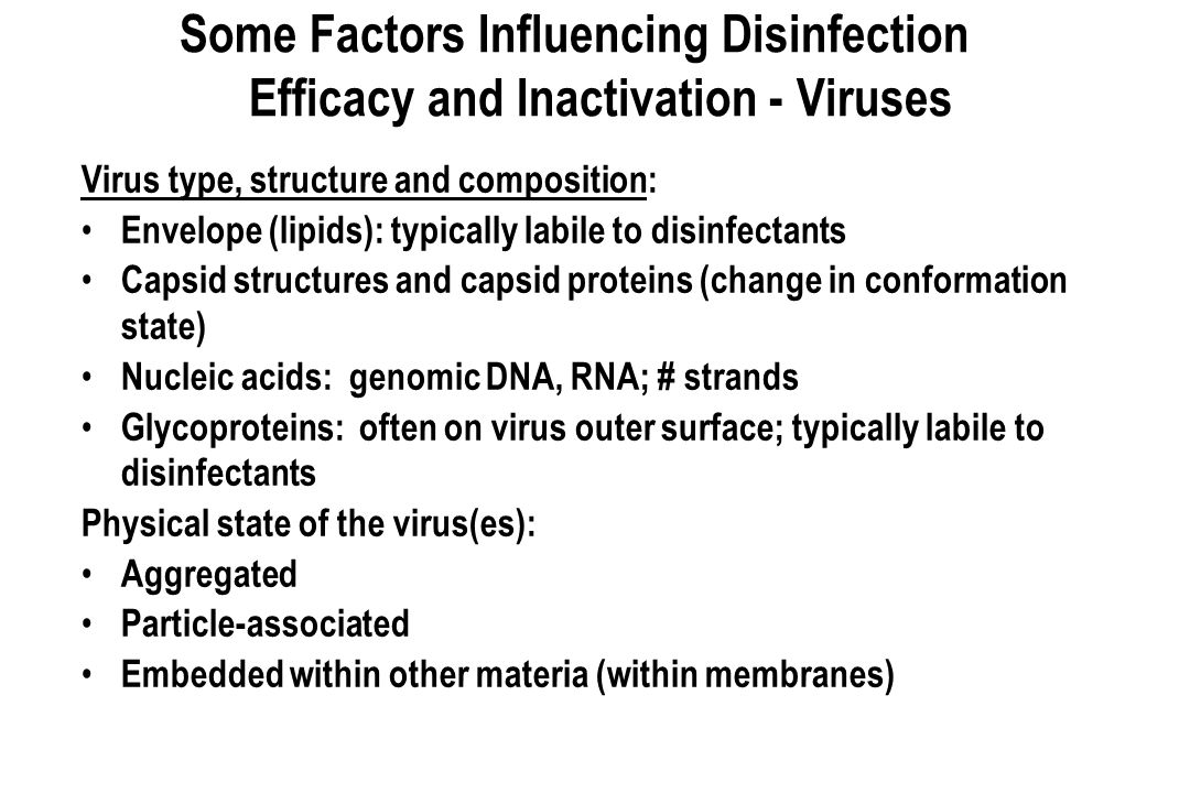 Some Factors Influencing Disinfection Efficacy and Inactivation - Viruses