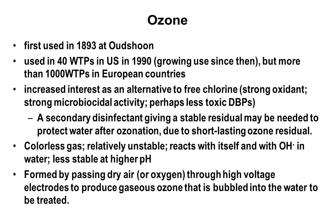 Ozone first used in 1893 at Oudshoon