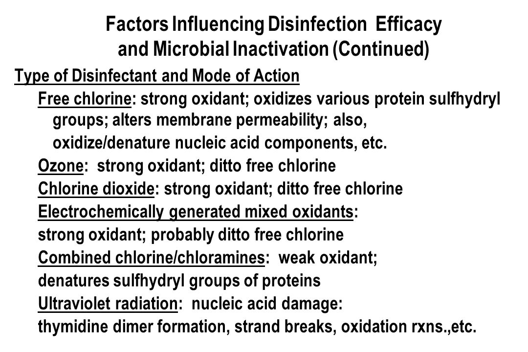 Factors Influencing Disinfection Efficacy and Microbial Inactivation (Continued)
