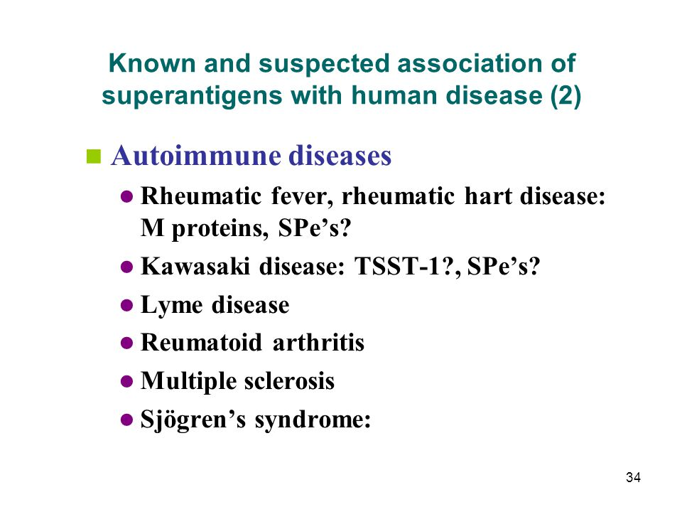 Known and suspected association of superantigens with human disease (2)