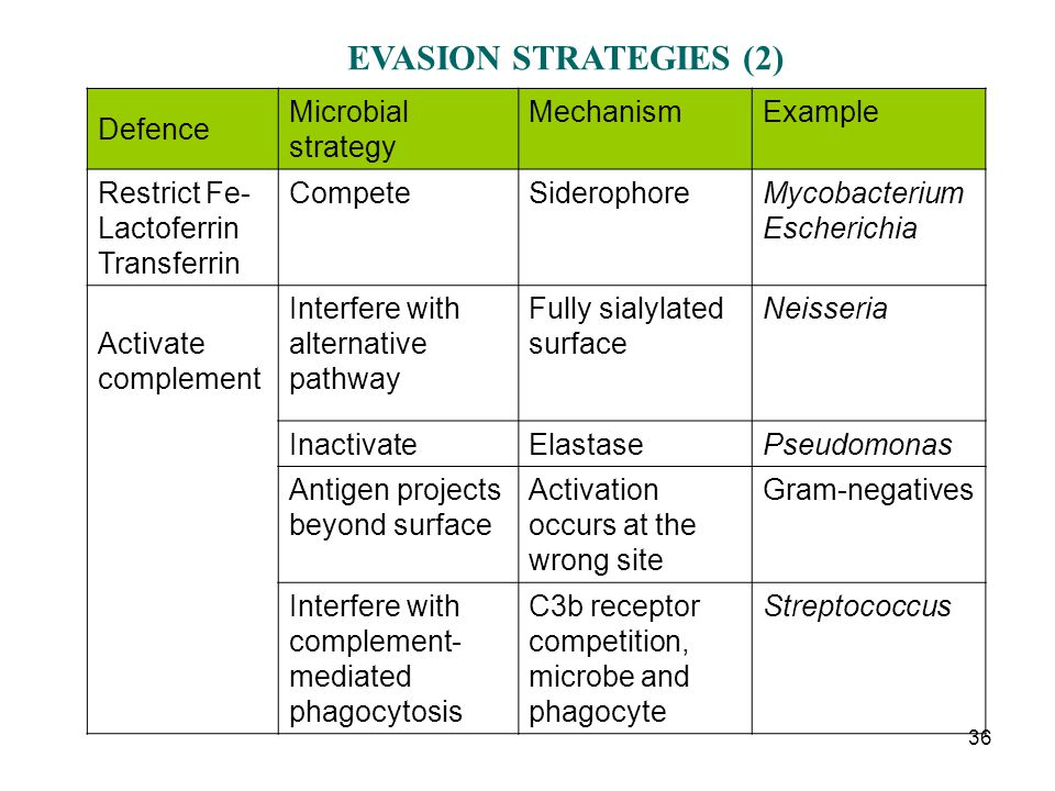 EVASION STRATEGIES (2) Defence Microbial strategy Mechanism Example