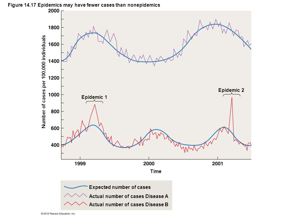 Figure 14.17 Epidemics may have fewer cases than nonepidemics