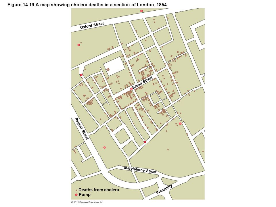 Figure 14.19 A map showing cholera deaths in a section of London, 1854