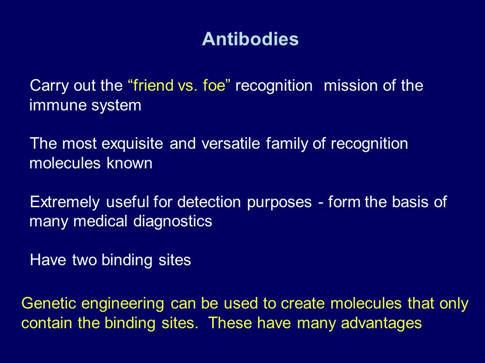 Antibodies Carry out the friend vs. foe recognition mission of the immune system.