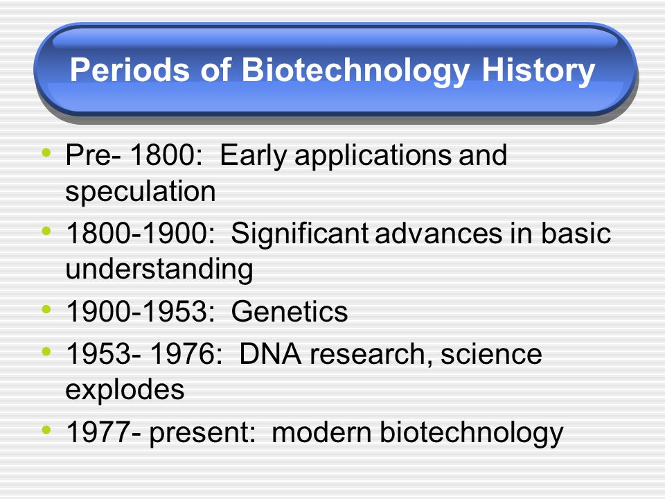 Periods of Biotechnology History