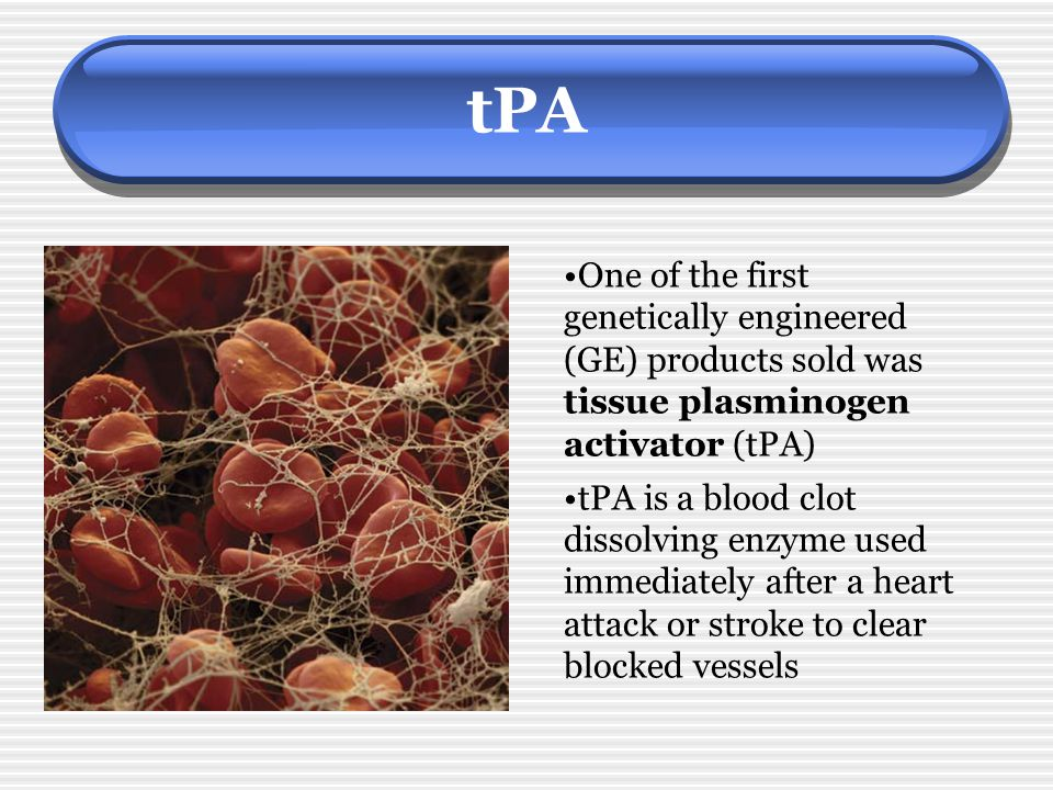 tPA One of the first genetically engineered (GE) products sold was tissue plasminogen activator (tPA)