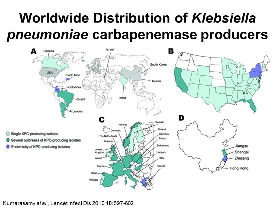 Worldwide Distribution of Klebsiella pneumoniae carbapenemase producers
